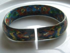 Antique Chinese Dragon Silver Enamel Bracelet