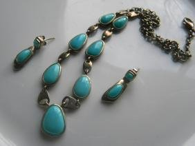 Set of Silver Turquoise Necklace and Earrings
