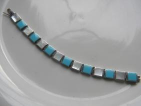 Vintage Turquoise Shell Silver Bracelet