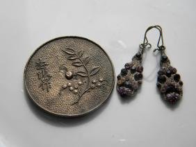 Antique Plaque and Pair of Earrings
