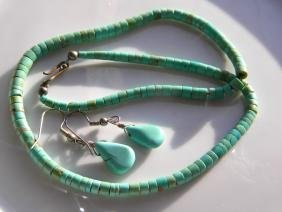 Natural Turquoise Necklace and Earrings