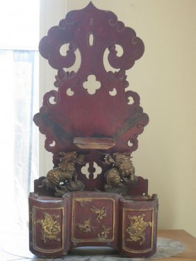 Chinese antique giltwood shrine with foo dogs