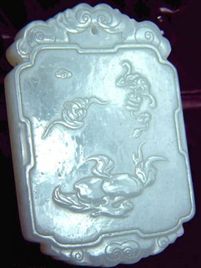 CHINESE WHITE JADE PEACH AND BAT PLAQUE
