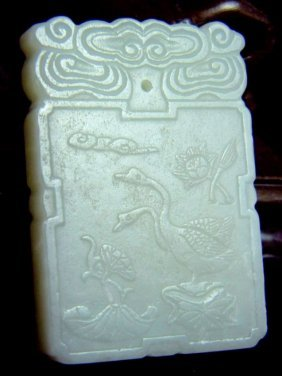 CHINESE WHITE JADE GEESE PLAQUE, TWO GEESE SCENE