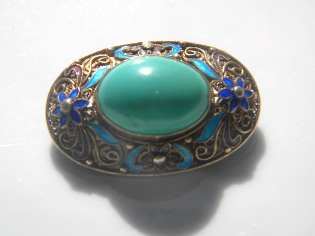 Antique Chinese Turquoise Silver Filigree Brooch Pin