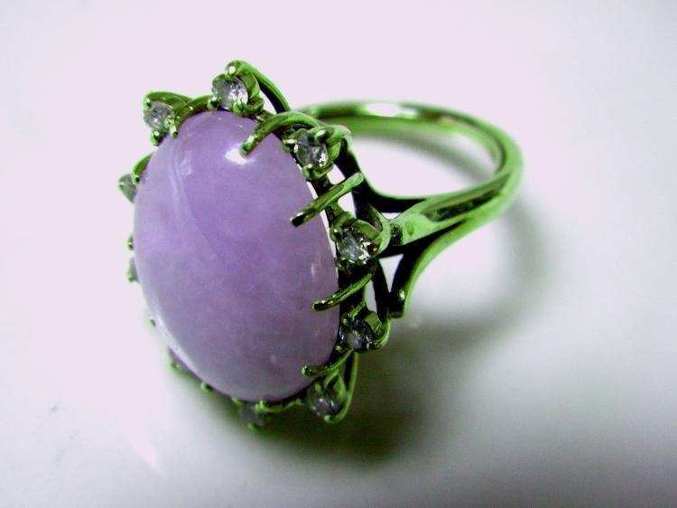 Antique 14K Gold Diamond Natural Purple Jadeite Ring