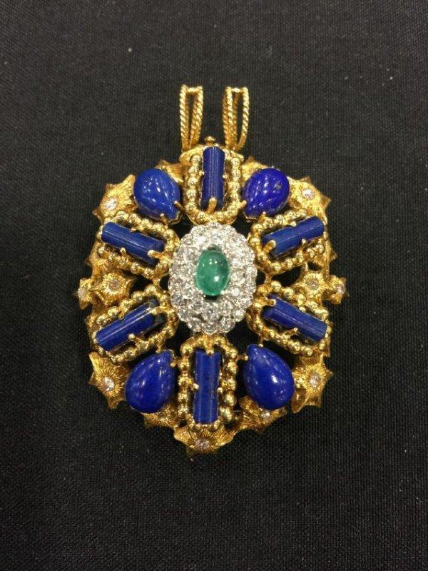 French 18K Gold Lapis Emerald Diamond Brooch Pin