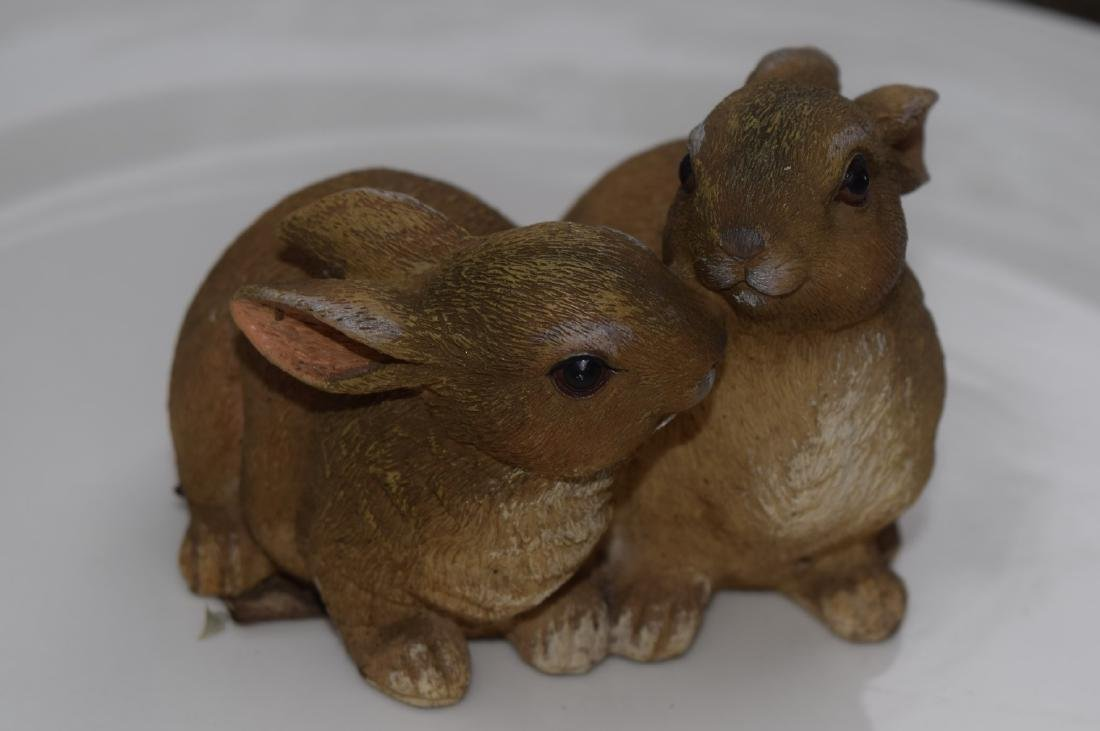 Carved Two Rabbit Statues