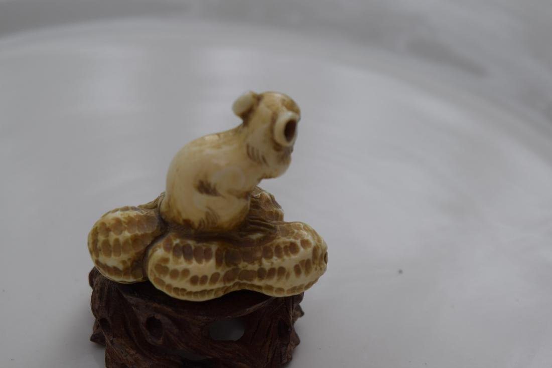 Carved Mouse and Peanut Statue - 3