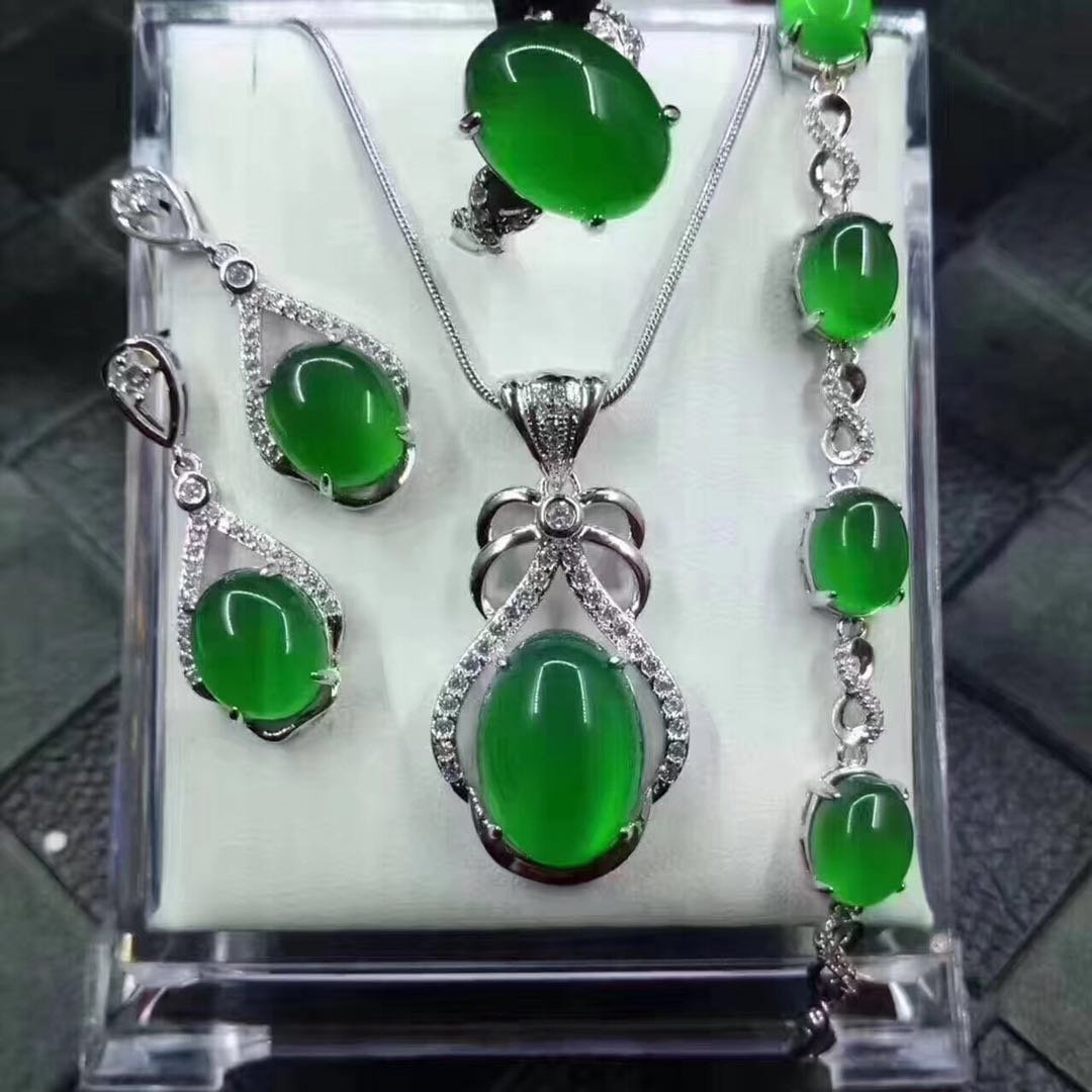 Set of Sterling Silver Green Stone Ring, Pendant,