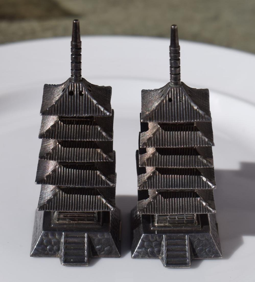 Pair of Sterling Silver Pagoda
