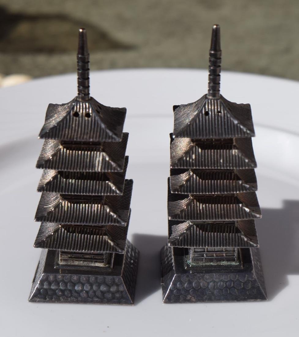 Pair of Sterling Silver Pagoda - 2