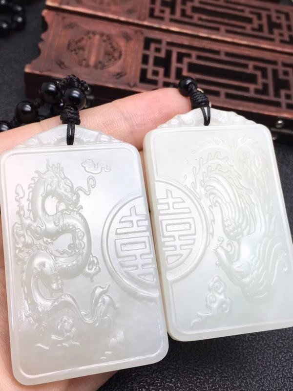 Pair of White Jade Dragon and Pheonix Hapiness Plaques