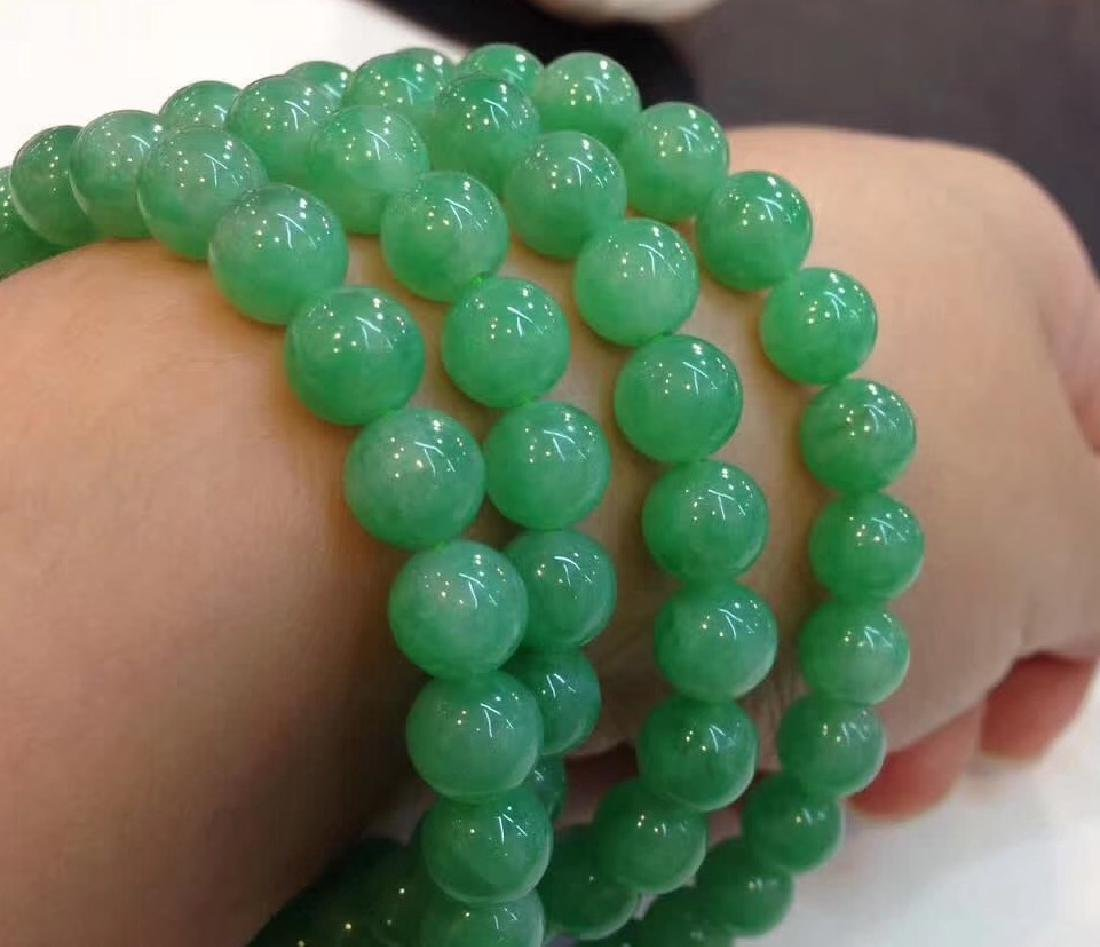 108 Natural Green Jadeite Bead Necklace - 3