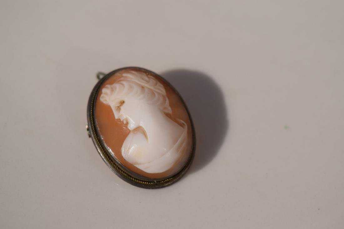 A Cameo Sterling Silver Brooch Pin Marked Sterling