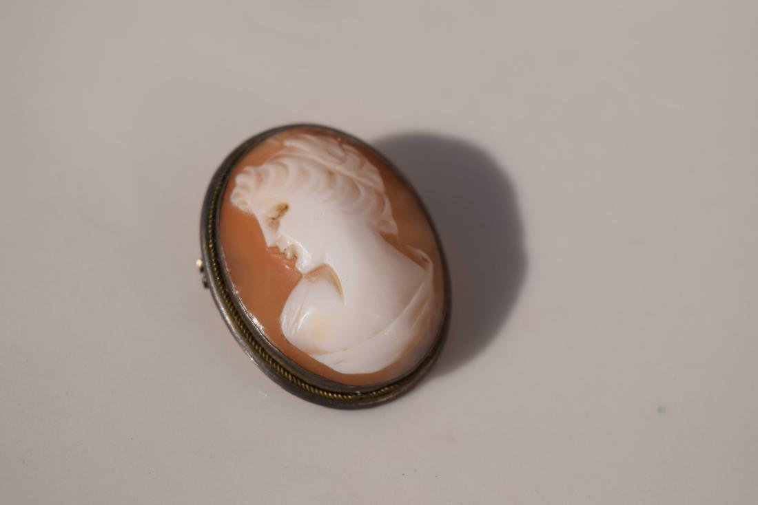 A Cameo Sterling Silver Brooch Pin Marked Sterling - 2