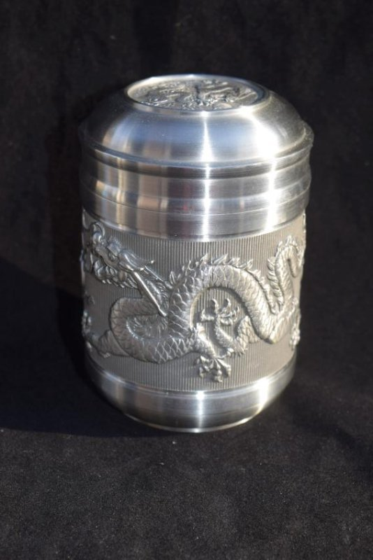 Two Dragons Chasing Flaming Pearl Tea Caddy