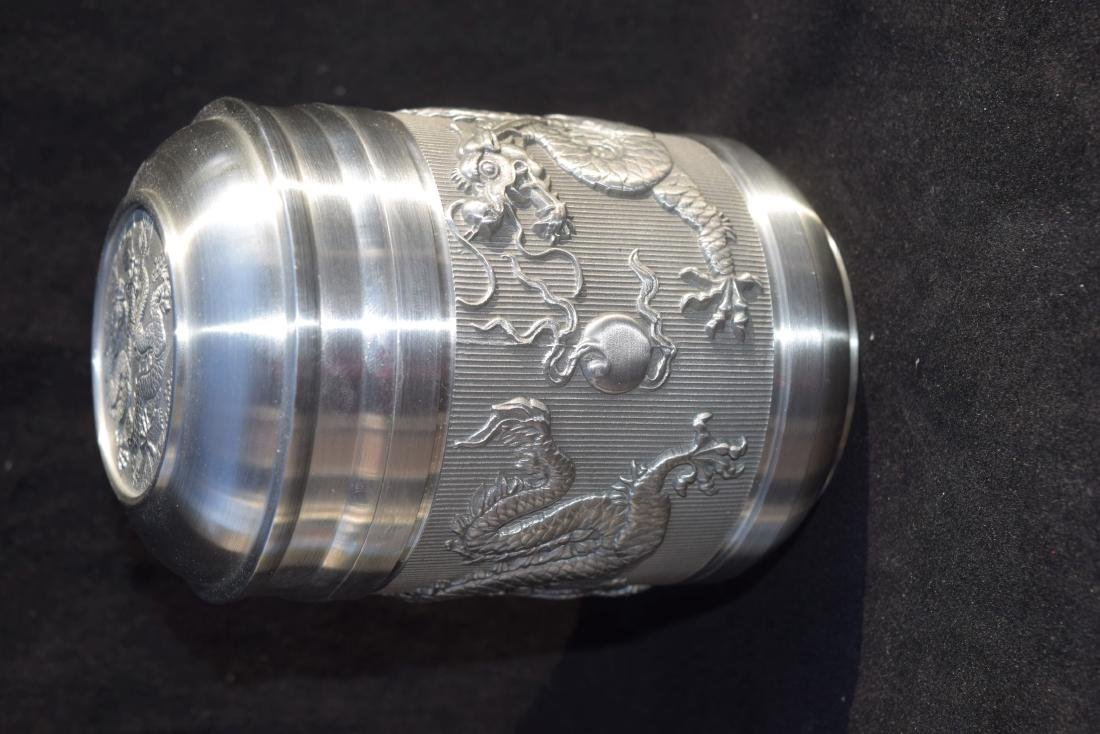 Two Dragons Chasing Flaming Pearl Tea Caddy - 2