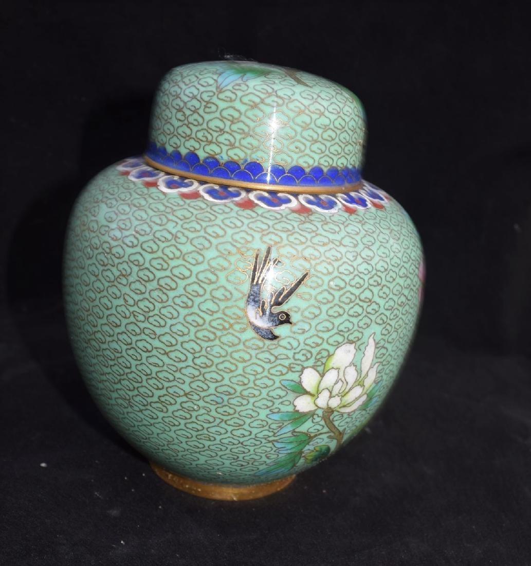 A Green Cloisonne Ginger Jar - 3