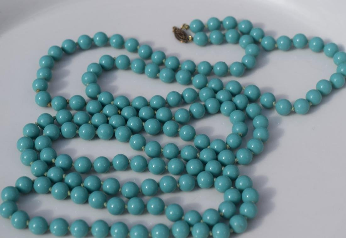 Vintage Blue Bead Necklace