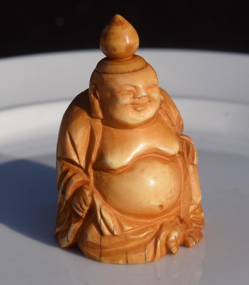 Antique Carved Buddha Snuff Bottle - 5