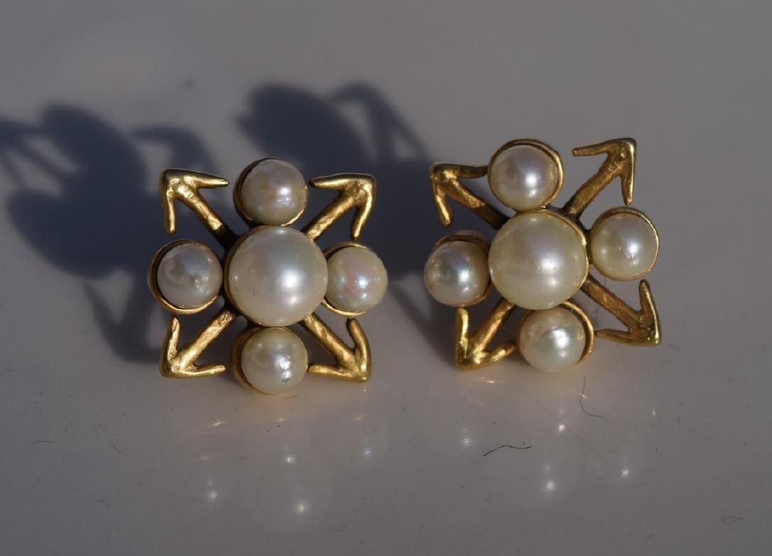 Pair of 14K Gold Pearl Earrings