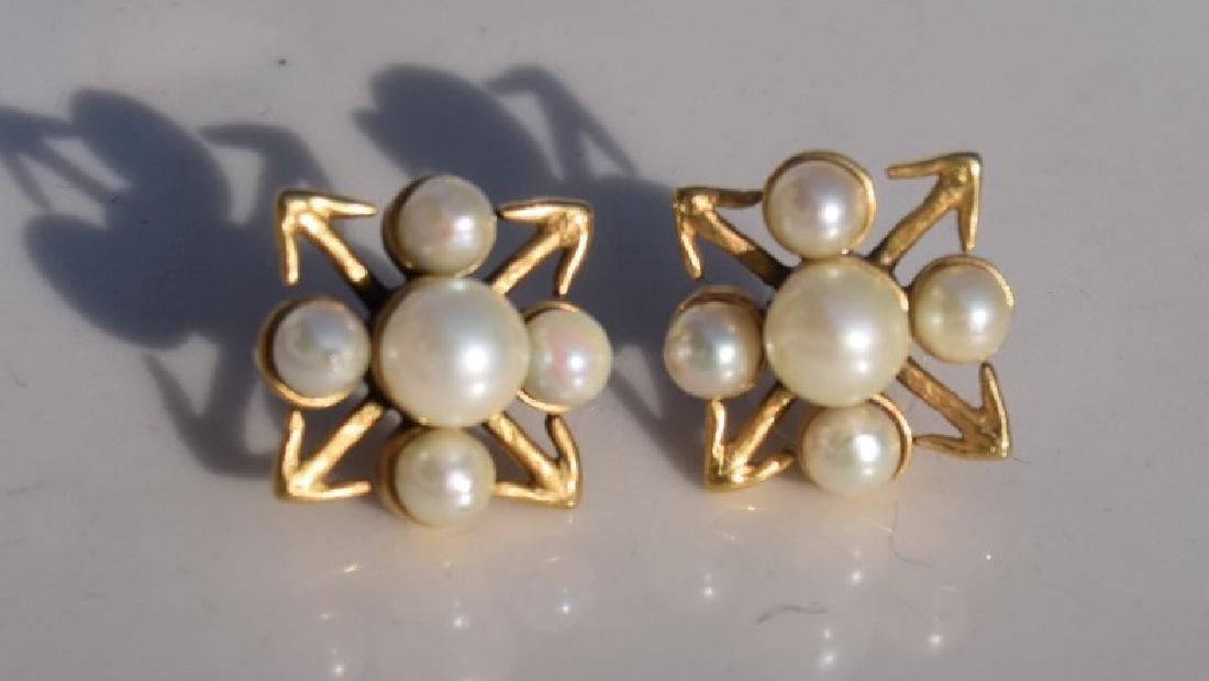 Pair of 14K Gold Pearl Earrings - 2