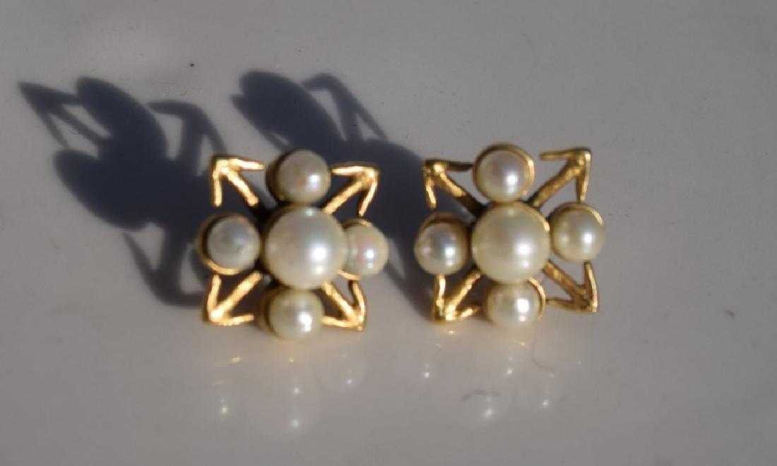 Pair of 14K Gold Pearl Earrings - 3
