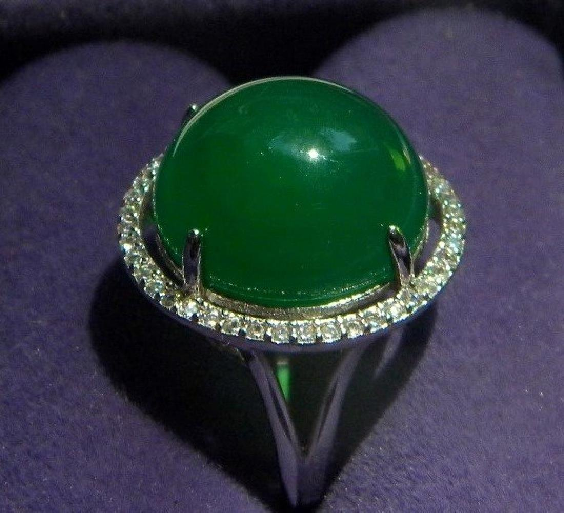 Natural Green Round Stone Ring - 2