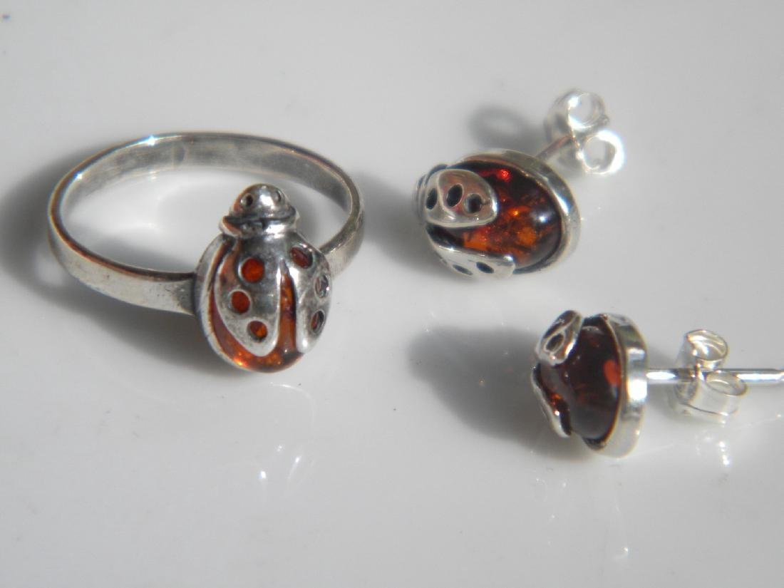 Set of Silver Amber Earrings and Ring