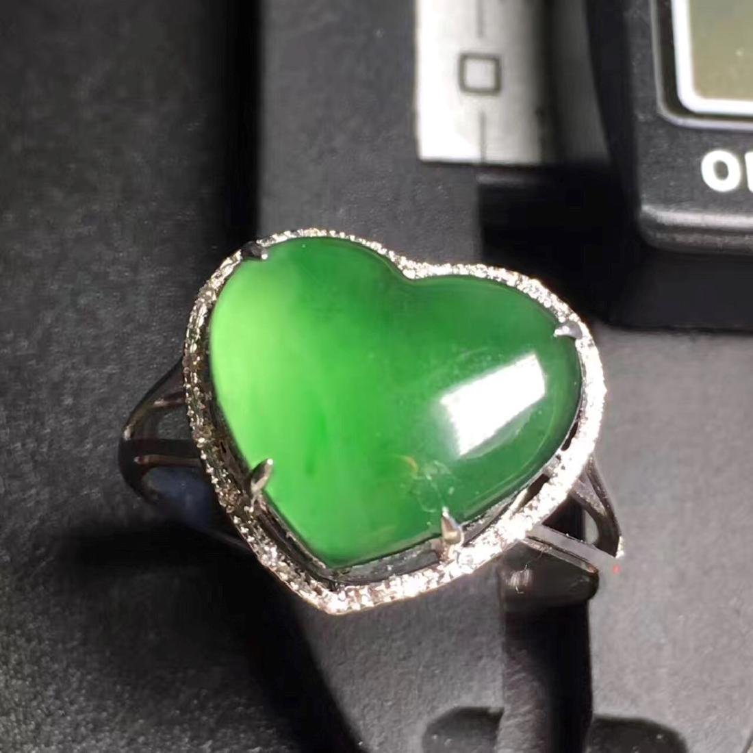 18K Gold Natural Green Jadeite Ring - 4