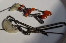 Antique Chinese White Jade Carnelian Silver Ornament