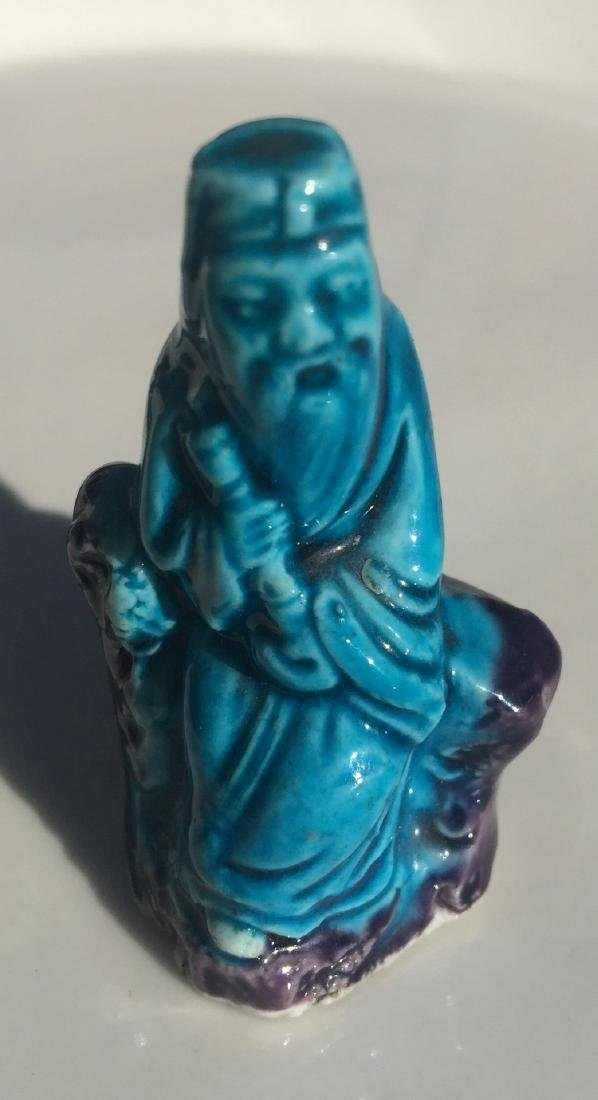Antique Chinese Blue Glazed Statue
