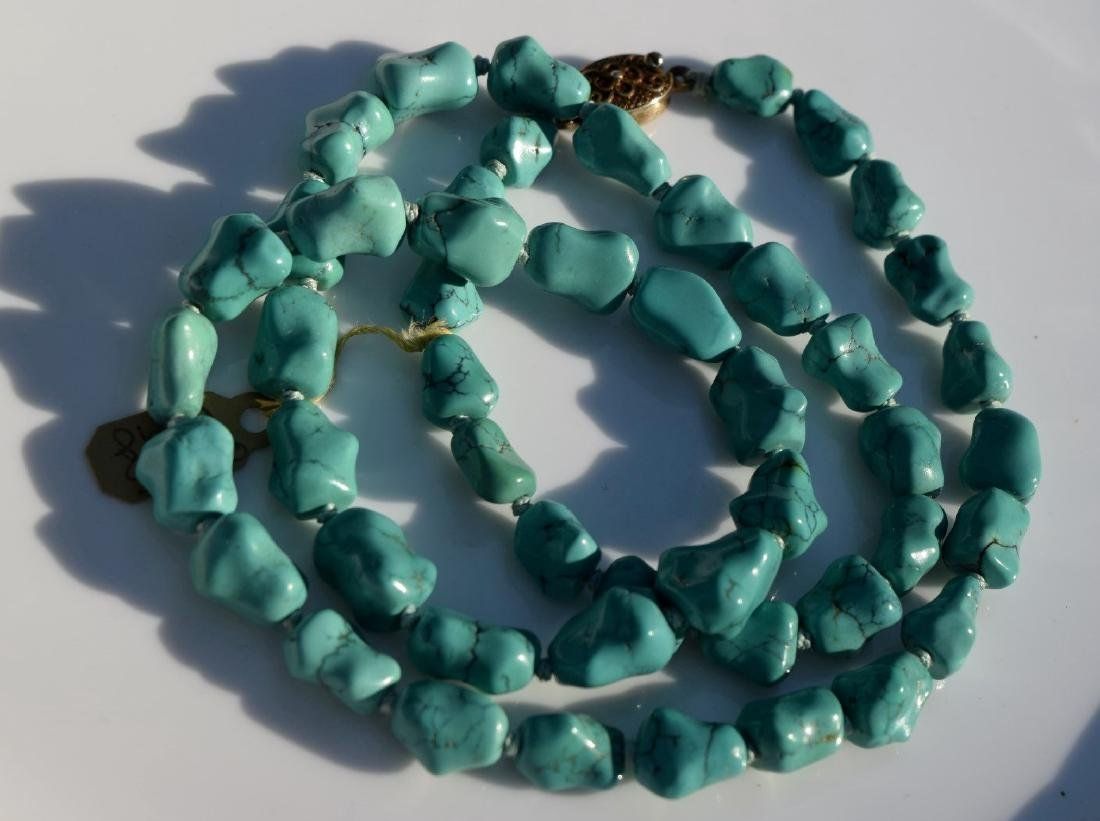 Antique Chinese Natural Turquoise Necklace - 2
