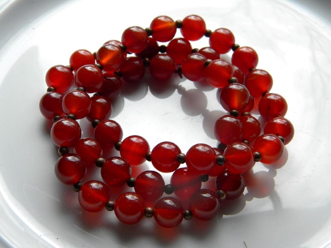 Antique Chinese Carnelian Bead Necklace