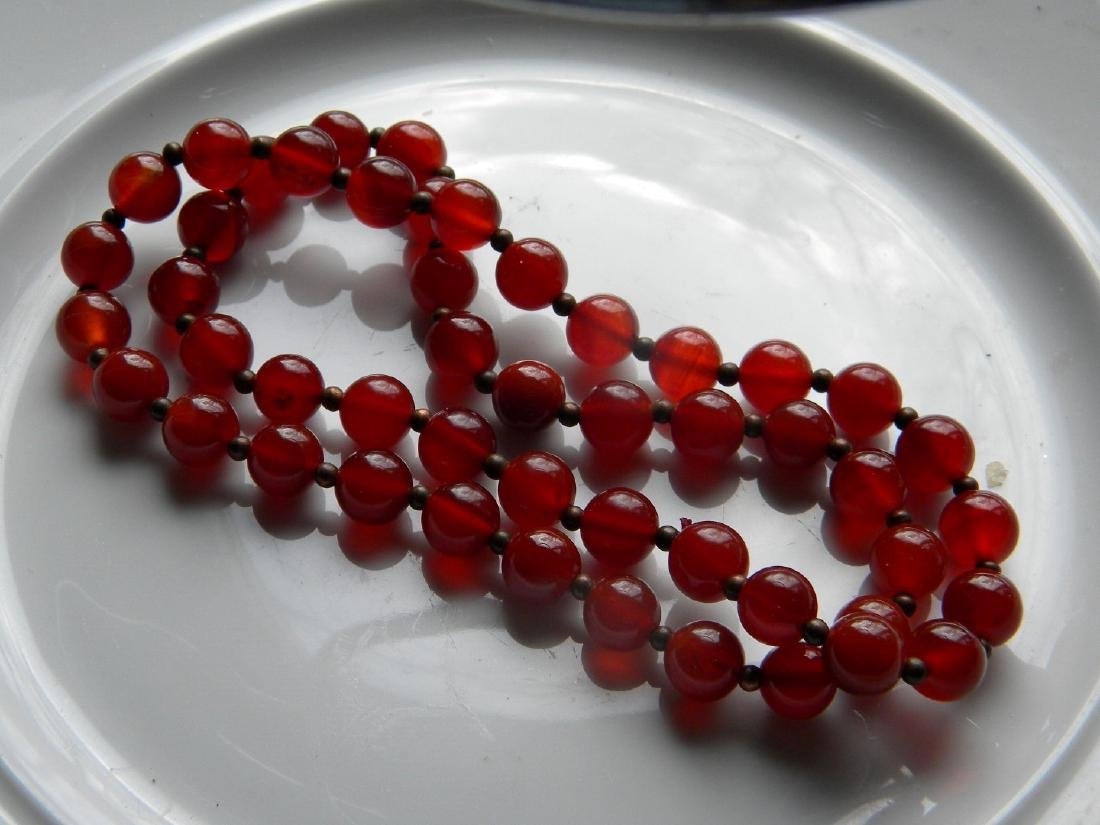 Antique Chinese Carnelian Bead Necklace - 3