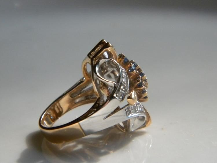 Antique 18K white and yellow Gold diamond sapphire Ring - 2