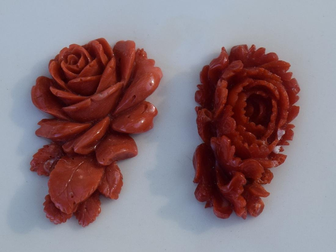 Pair of Carved Red Coral Flower Pendants
