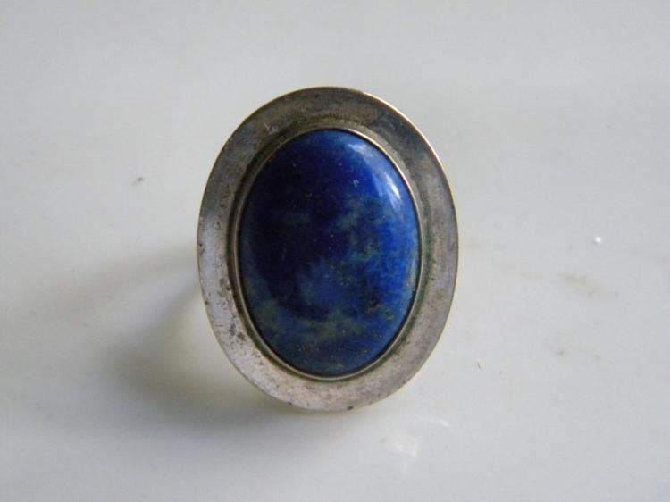Antique Silver Lapis Ring