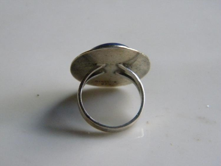Antique Silver Lapis Ring - 2