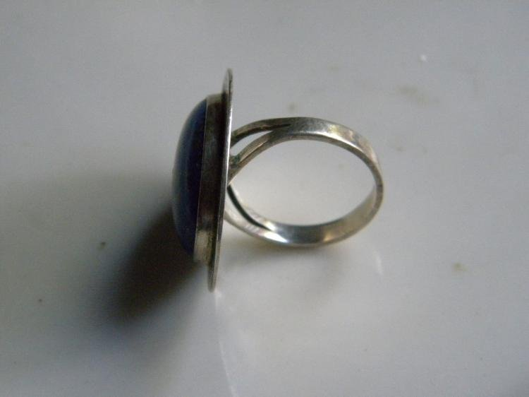 Antique Silver Lapis Ring - 4