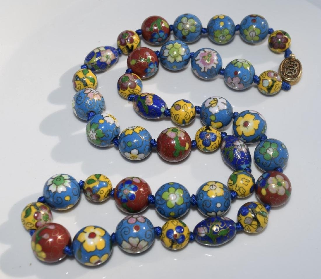 A CLOISONNE BEAD NECKLACE, REPUBLIC PERIOD