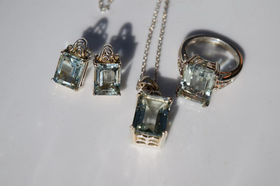 Set of Silver Earrings, Ring and Necklace - 3