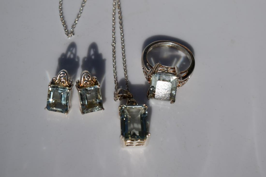 Set of Silver Earrings, Ring and Necklace - 4
