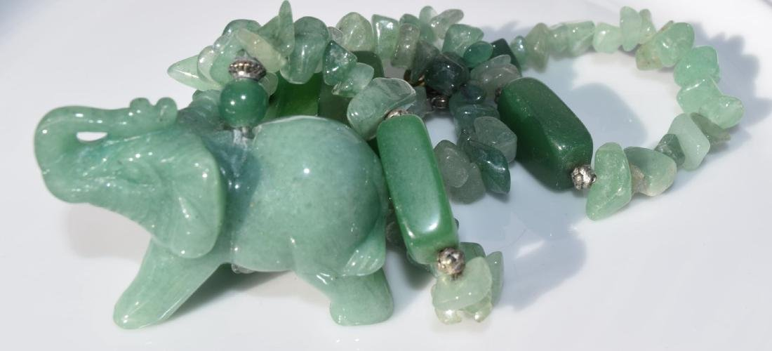 Green Neckalce with the pendant of Elephant - 2