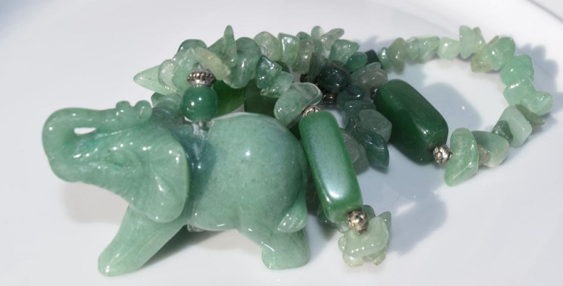 Green Neckalce with the pendant of Elephant - 3