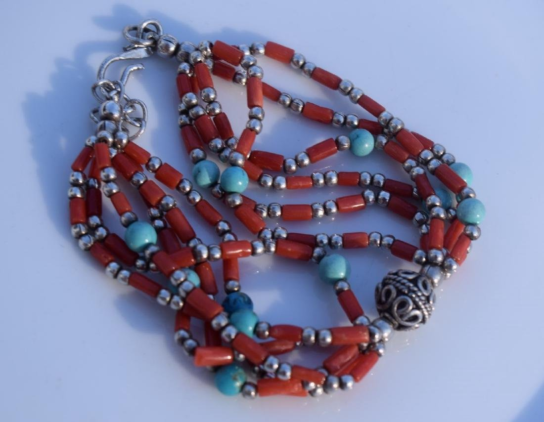 Antique Mongolia Red Coral and Turquoise Silver