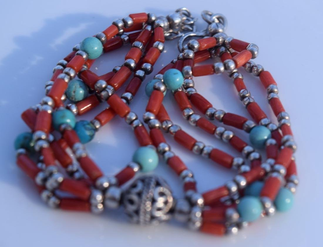 Antique Mongolia Red Coral and Turquoise Silver - 2