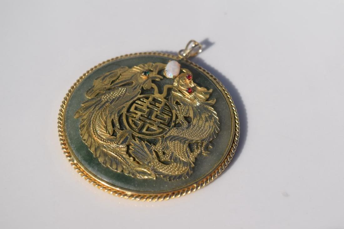 Vintage Opal Dragon and Pheonix Jade Pendant - 2