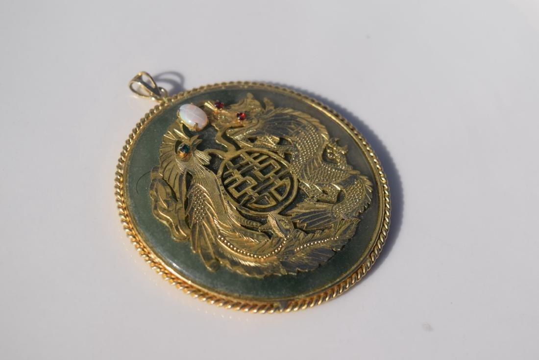 Vintage Opal Dragon and Pheonix Jade Pendant - 3